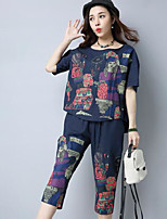 Women's Going out Casual/Daily Simple Cute Spring Summer T-shirt Pant Suits,Print Round Neck Short Sleeve Micro-elastic