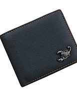 Men Cowhide Wallet Black Formal Card Holder Genuine Leather Purse