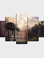 Stretched Canvas Print Contemporary Nature Inspired Art Deco/Retro,Five Panels Horizontal Print Wall Decor For Home Decoration