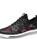 Men's Sneakers Comfort Fabric Spring Summer Athletic Casual Outdoor Comfort Lace-up Flat Heel Black Gray Black/Red Flat