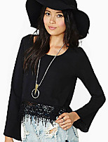 Women's Holiday Simple Blouse,Solid Round Neck Long Sleeve Polyester