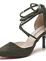 Women's Heels Comfort Suede Spring/Fall Casual Dress Walking Comfort Buckle Stiletto Heel Black Army Green Light Pink 2in-2 3/4in