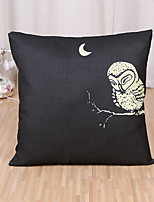 1 Pcs Night Lonely Owl Printing Pillow Cover Simple Cotton/Linen Pillow Case
