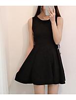 Damen A-Linie Kleid-Ausgehen Lässig/Alltäglich Solide Rundhalsausschnitt Mini ½ Länge Ärmel Polyester Sommer Mittlere Hüfthöhe