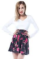 Damen Skater Kleid-Ausgehen Lässig/Alltäglich Solide Blumen V-Ausschnitt Mini Langarm Polyester Frühling Sommer Mittlere Hüfthöhe