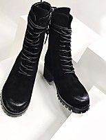 Women's Boots Comfort Cowhide Fall Winter Casual Chunky Heel Black 1in-1 3/4in