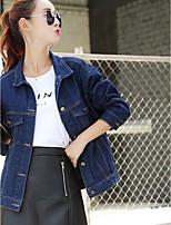 Для женщин На каждый день лето Джинсовая куртка Рубашечный воротник,просто Однотонный Короткие Длинный рукав