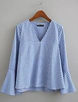 T-shirt Da donna Per uscire Casual Sensuale Semplice Moda città Estate,A scacchi A V Cotone Manica lunga Sottile Medio spessore