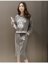 Women's Going out Casual/Daily Beach Vintage Cute Street chic Hoodie Skirt Suits,Striped Print Round Neck Long Sleeve