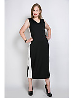 Really Love Women's Casual/Daily Club Holiday Sexy Simple Cute T Shirt Tunic Black and White Dress,Color Block Patchwork V Neck Maxi Midi Sleeveless