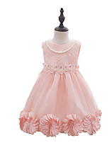 Girl's Print Lace Embroidered Dress,Cotton Polyester Summer Sleeveless