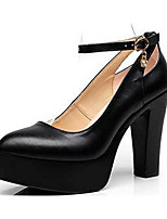 Women's Heels Formal Shoes Leather Spring Fall Office & Career Chunky Heel Black White 5in & over