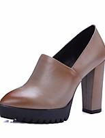 Women's Boots Comfort PU Spring Casual Almond Black Flat
