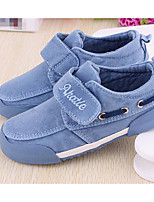 Girls' Flats First Walkers Canvas Spring Fall Outdoor Casual Walking Magic Tape Low Heel Burgundy Light Blue Navy Blue Flat