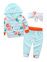 Girls Fashion Sports Floral Stripe Clothes SetsCotton Fall Fall/Autumn Long Pant Baby Kids Clothing Set 2 PCS