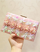 Women Evening Bag PU All Seasons Event/Party Party & Evening Date Club Baguette Sequined Magnetic Ruby Fuchsia Apricot Peachblow Pale Pink