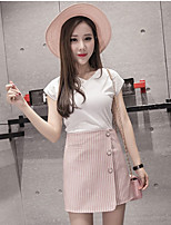 Women's Casual/Daily Simple Summer T-shirt Skirt Suits,Solid Striped V Neck Short Sleeve