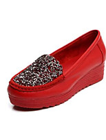 Women's Sneakers Comfort Cowhide Nappa Leather Spring Casual Comfort Blue Ruby Black Flat