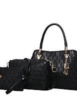 Women Bag Sets PU All Seasons Casual Outdoor Office & Career Round Zipper Zipper Black White Gold Blue