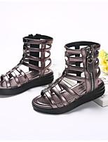 Девочки Сандалии Обувь для малышей Полиуретан Весна Осень Повседневные Обувь для малышей На липучках На плоской подошве Черный Цвет экрана