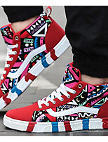 Men's Sneakers Canvas Spring Black Ruby Blue Flat