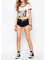 T-shirt Da donna Per uscire Casual Sensuale Semplice Moda città Estate,Con stampe Alfabetico Rotonda Cotone Manica cortaSottile Medio