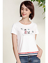 I BELIEVE YOUWomen's Daily Casual Simple T-shirtColor Block Round Neck Short Sleeve Cotton