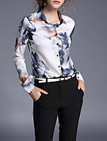 Women's Casual/Daily Work Chinoiserie Spring Summer Shirt,Print Stand Long Sleeve Polyester Thin