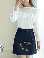 Women's Holiday Cute Spring Blouse Skirt Suits,Print Round Neck Long Sleeve Denim Acrylic Micro-elastic