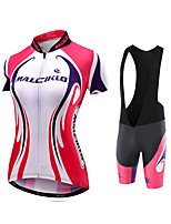 Cycling Jersey with Bib Shorts Women's Short Sleeve Bike Jersey Compression Clothing Tights Padded Shorts/Chamois Bib TightsQuick Dry