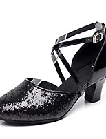 Non Customizable Women's Latin Paillette Heels Indoor Sequin Buckle Low Heel Black 1