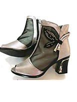 Women's Heels Modern/Contemporary Tulle Spring Summer Casual Chunky Heel Black Gold 2in-2 3/4in