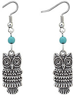 Euramerican Fashion Vintage Rock Cute Owl Earrings Lady Daily Drop Earrings Statement Jewelry