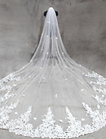 Bride Bridesmaids Beige / White Wedding Veil One-tier Cathedral Veils Cut Edge Tulle Netting
