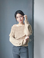 Women's Going out Short Cardigan,Solid Strapless Long Sleeve Wool All Seasons Thick Micro-elastic