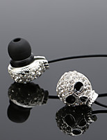 Female Diamond Skull Metal Ear Type Mobile Phone Headset Subwoofer