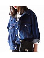 Women's Street Cowboy Spring Denim Jacket,Solid Shirt Collar Long Sleeve Regular Cotton