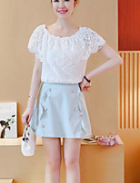 Women's Casual/Daily Street chic Summer Blouse Skirt Suits,Solid Crew Neck ½ Length Sleeve