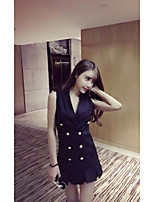 Women's Going out Casual/Daily Sexy Street chic Spring Summer Blazer,Solid V Neck Sleeveless Regular Rayon