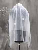 Hochzeitsschleier Zweischichtig Ellbogenlange Schleier Fingerspitzenlange Schleier Schnittkante Tülle
