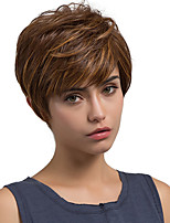 Oblique Fringe Fluffy Medium Brown Short Hair Synthetic Wig
