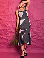 EVEN THOUGHWomen's Casual/Daily Sexy Trumpet/Mermaid DressLines / Waves Color Block V Neck Midi Sleeveless Polyester Summer High Rise Inelastic Thin