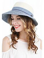 Femme Rétro Mignon Soirée Décontracté Chapeau de Paille,Couleur Pleine Printemps Eté Automne Couleur mixte