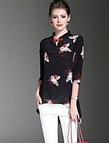 Women's Going out Casual/Daily Simple Blouse,Floral Round Neck ½ Length Sleeve Polyester Thin
