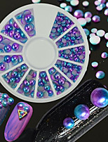 1pcs Mixed 3mm/4mm/5mm Gradient Effect Magical Mermaid Color Nail Art DIY Pearl Decorations Semicircle Flat Back 3D Pearl Manicure Beauty