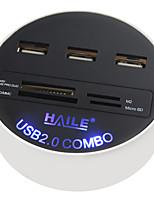 Haile hu-03 blanc rond 3 ports usb2.0 hub avec lecteur de carte fonction 80cm câble