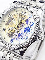 Муж. Часы со скелетом Модные часы Механические часы С автоподзаводом Защита от влаги сплав Группа Серебристый металл