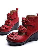 Femme Chaussures à Talons Cuir Nappa Cuir Polyuréthane Printemps Noir Jaune Rouge Plat