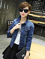 Women's Going out Simple Spring Denim Jacket,Solid Shirt Collar Long Sleeve Short Others