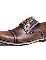 Men's Oxfords Fall Winter Comfort Nappa Leather Outdoor Office & Career Party & Evening Dress Casual Hiking Light Brown Blue  Big Size